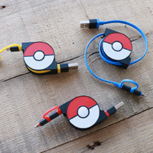 cheero 2in1 Retractable USB Cable with Lightning & micro USB POKÉMON version 70cm
