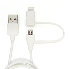 cheero 2 in 1 USB Cable with micro USB and Lightning connector (Charge & Sync) 60cm